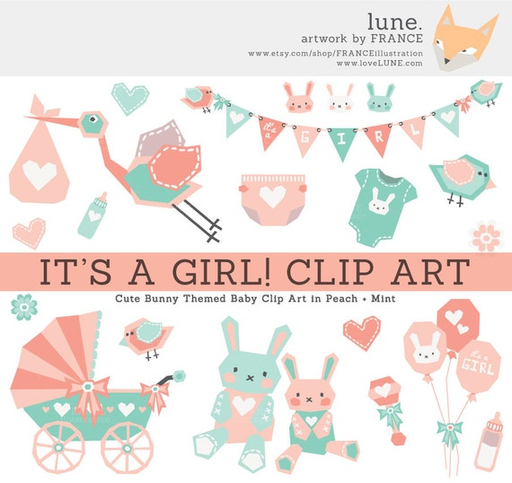 GET 3 FOR 2. It's a GIRL Baby Clipart. Pink/Mint/Peach
