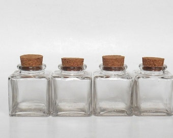 Small clear glass square Jars set (4), 3 oz, 90 ml, with cork, 4 empty small jars, DIY jars supply, wedding favor supply, party favor supply