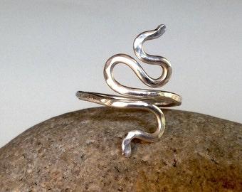 Modern Snake Ring, Hammered Ring, Sterling Silver or 14 kt Gold, Handmade to Order by LisaJStudioJeweler.