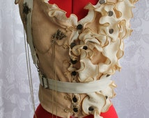 Steampunk Vest Regency Officer Style with Brooches, Charms, & Chain xs, s, m, l, xl