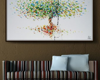 "Tree 72"" Original oil painting on canvas, Luxury thick layers tree of Life, Large size painting, Gives extremely good vibes, by Koby Feldmos"