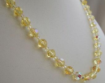 Vintage Swarovski Jonquil Yellow AB Crystal Bead Necklace  0631