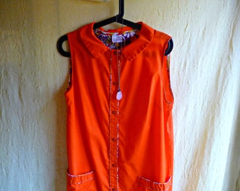Vintage 1960's Orange Mini Button Front Dress, Mod Style Dress, Bright Orange Clothes, 60's Mini Jumper, Sleeveless Collared Button Up Dress