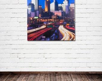 "Minneapolis Fine Art Canvas, ""Minneapolis Skyline #2"", Downtown, Twin Cities, Cityscape - Travel Photography on Canvas, Wall Art"