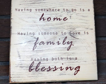 Home Family Blessing - Wooden Wall Hanging