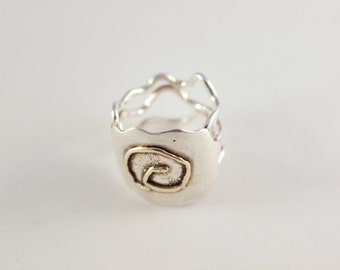 Silver ring with spiral