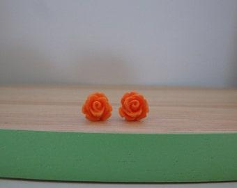 Little orange rose earrings, stud earrings, resin rose earrings, surgical stainless steel posts