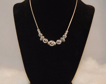 "Sterling Silver Necklace with Bali Beads (16"")"
