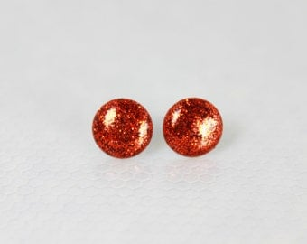 Bright Orange Earrings, Stud Earrings,Glitter Earrings, Hypoallergenic Jewelry, Gifts For Her