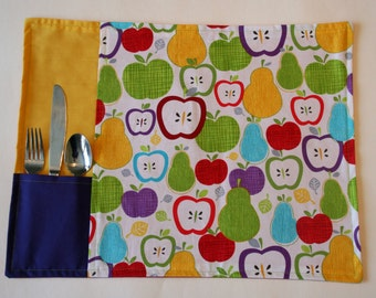 Bright Fruit Placemat with Silverware Pocket | Red, Yellow, Purple, Green, Aqua Fruit Snack Mat