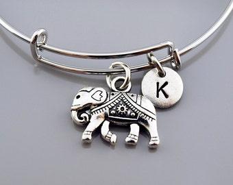 Elephant Bangle, Ornate elephant charm bracelet, Elephant charm jewelry, Expandable bangle, Personalized bracelet, Initial bracelet
