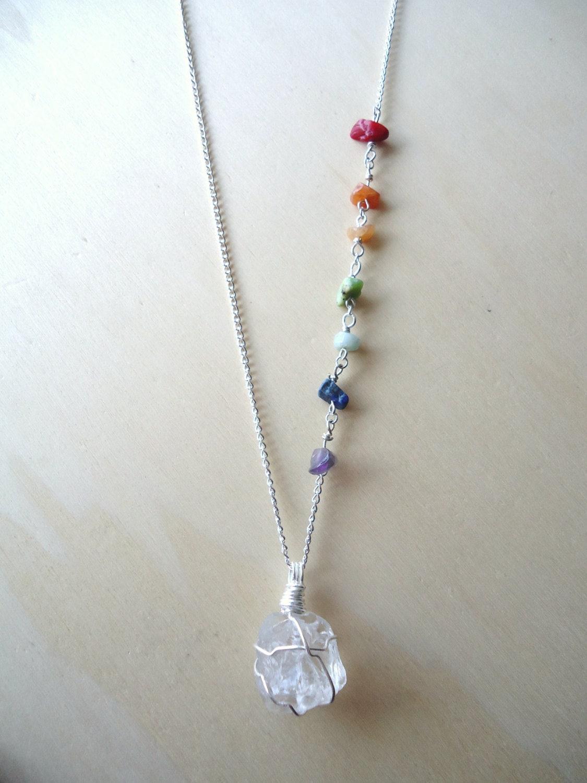 7 chakra necklace necklace quartz pendant sanskrit