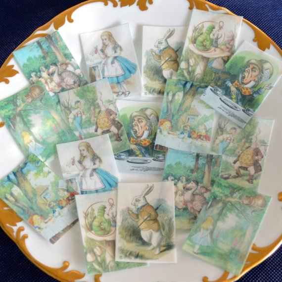 alice in wonderland wedding cake toppers edible in set 1 wafer paper x 16 wedding cake 10671