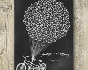wedding guest book chalkboard poster tandem bicycle hearts balloons wedding guestbook alternative signature poster printable digital print