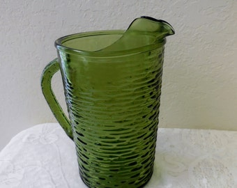 "Avocado Green Glass Pitcher, Anchor Hocking Soreno ""Pressed Bark"" Pattern.  FREE SHIPPING"