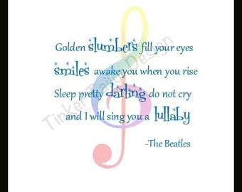 "Lullaby Print. ""Golden Slumbers Fill Your Eyes"" Beatles Lullaby Lyrics.  Rainbow Treble clef. Art for Baby room. Music Print. Music Painting"