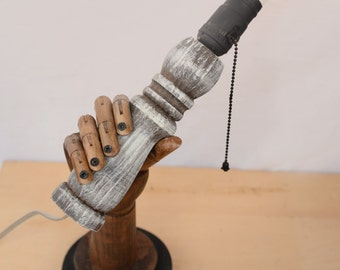 Steampunk Industrial Wooden Hand Lamp / Light with Edison Bulb