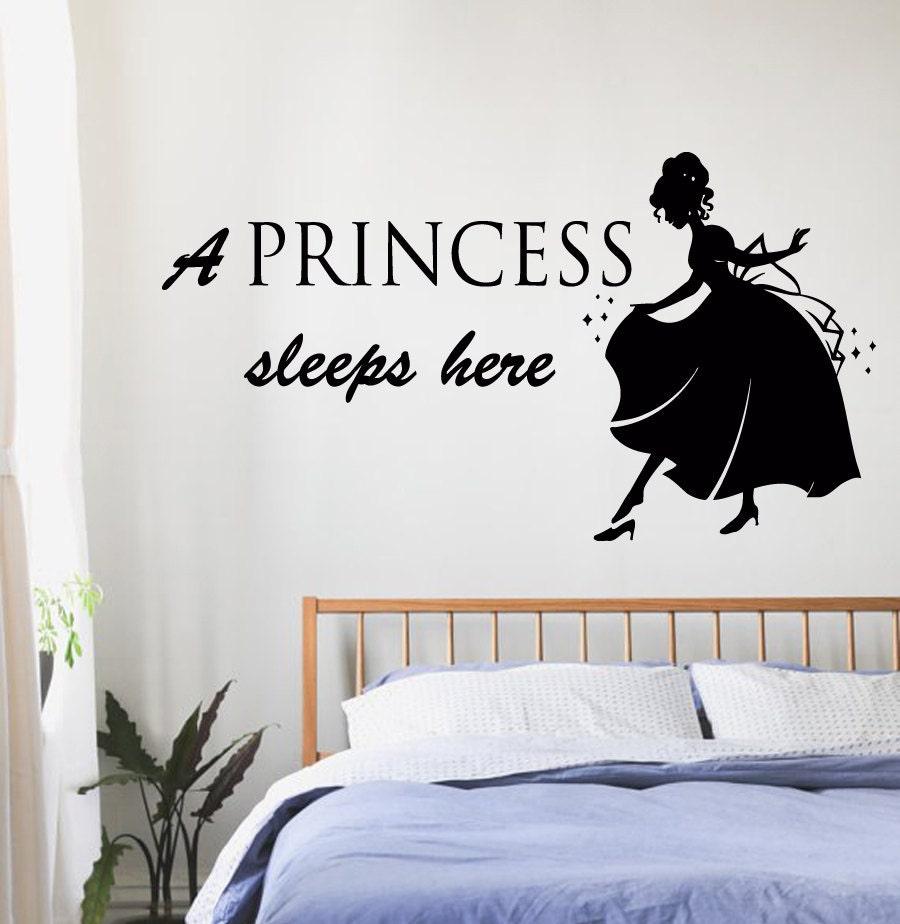 Princess Vinyl Decal Wall Sticker Words Lettering Nursery: Girl Wall Decals A Princess Sleeps Here Words Princess Vinyl