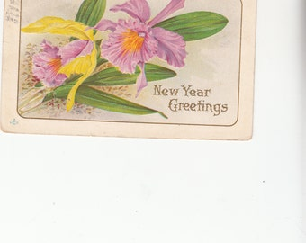 Lovely C1910 Antique  Postcard Of Embossed Pink Orchids