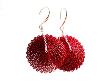 Red Statement Earrings, 1st Anniversary Gift, Paper Jewelry, Paper Earrings, Mom Gift, Paper Bead Large Earrings, Round Earrings, Babelfish