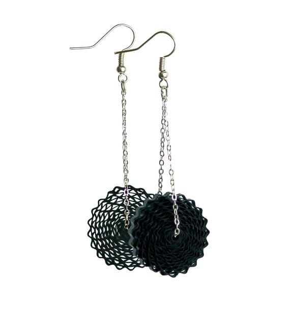 Black dangle earrings st anniversary gift paper