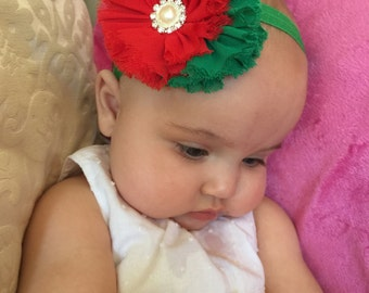 Red and green headband,  Red and green flower headband, Christmas headband, Headband for Christmas, Newborn headband, Girls headband
