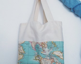 Fabric bag for woman 'A world under his arm' print map