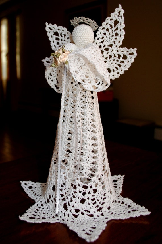 Crochet Christmas angel tree topper white with a silver halo