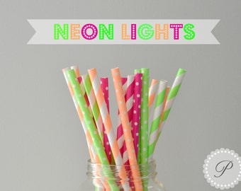 NEON LIGHTS Paper Straws // Polka Dots - Stripes // 6 Designs // Baby Shower // Wedding // Party