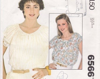 Gathered Drawstring Neckline Top Pullover Blouse Easy Shirt Pattern Simple Top Pattern  McCall's Sewing Pattern 6566 Size Small (10-12)