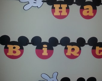 Mickey Mouse Happy Birthday Banner Personalized