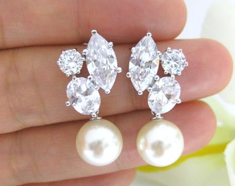 Cubic Zirconia Swarovski Round 10mm Pearl Earrings Wedding Jewelry Bridesmaid Gift Bridal Earrings Gift for Her (E007)