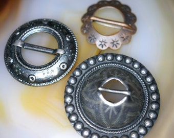 Set of Three Finnish Style Buckle Brooches