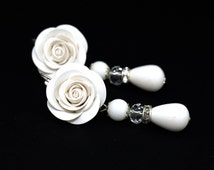 Bridal Earrings • Floral Earrings • Floral jewelry • Roses • Clay rose • Jewelers • Christmas gift idea • Christmas • Romantic ideas for her