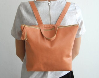 Peach leather backpack, School leather bag, PEACH leather backpack, backpacks, womens bag, backpack bag, birthday gift, Made to order