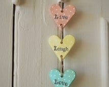 Live Laugh Love sign - Valentines gift - Shabby chic home decor  - Live Laugh Love clay wedding decoration - Clay heart wall hanging