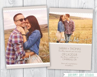 printable save the date / save the date template / lace save the date / save the date photoshop template / photo save the date template  PSD