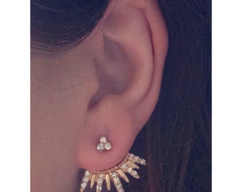 Gold Ear Jackets w/ Crystal Cluster studs. BLOWOUT SALE ITEM - Price lowered - Available until gone. Egyptian sunburst. phoenix.
