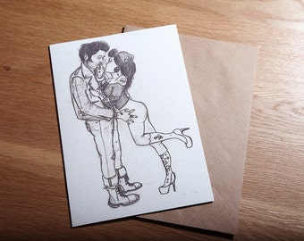 Rockabilly, Pin Up, Greeting Card, Art Print 'The Flirt' *Free UK postage*