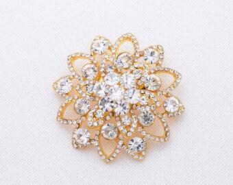 Gold Wedding Brooch Rhinestone Gold Wedding Brooch Bridal Brooch  Brooch Rhinestone Gold Brooch