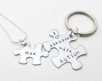 Autism Awareness Hand Stamped Keychain & Necklace Set | Puzzle Piece Key Chain | Puzzle Piece Necklace | Custom Name Necklace | Child's Name