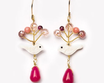 Earrings SAE playful filigree sweet pink mother of Pearl pink gold