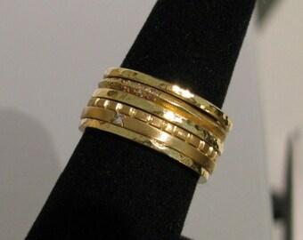 6-Band Stacking Rings or Wedding Stack Set w/ Diamonds Handmade 14K 18K & 22K Gold