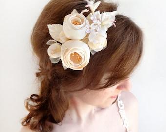 cream flower headband, bridal hairpiece, cream flower for hair, wedding headband, silk flower, couture headband, ivory bridal headpiece