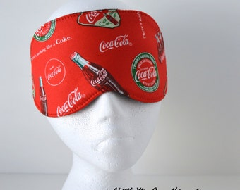 Travel/Sleep/Eye Mask ~ Quality Handcrafted & Light Blocking in a 100% Cotton Coca Cola Printed Fabric ~ MADE TO ORDER