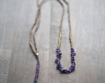 Mixed Media Boho Necklace /  Dark Purple Necklace /  Gemstone Necklace / Amethyst Necklace