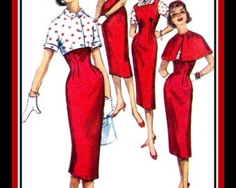 Vintage 1956-SWEET & SASSY-Wiggle Dress-Capelet-Shortie Jacket-Jumper Dress Ensemble-Sewing Pattern-Size 12 –Mega Rare