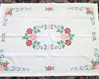 Colorful Linen Tablecloth Flowers Cross Stitch 1950s