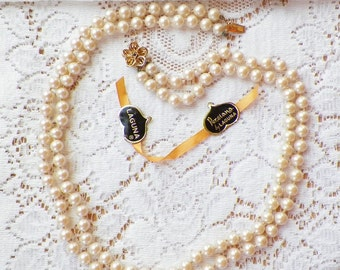 Beautiful Laguna Persiana Two Strand / Strands Creamy Knotted Pearls with Matching Screw Back Earrings, Bride, Bridal, Evening Wear
