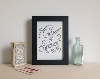 Alice in Wonderland typographic print, limited edition gocco black and gold curiouser